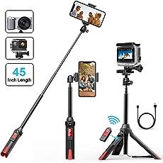 Selfie Stick Stativ, MATONE Selfiestick Bluetooth 106CM Ausfahrbare Selfie-Stange mit Bluetooth-Fernauslöser, Einbein-Stative für iPhone X/8 Plus/7/6S Plus , Galaxy S9 Plus/S8, Gopro Action Kamera (Schwarz)