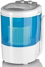 CLEANmaxx 07475 Mini-Waschmaschine, Toplader mit Schleuder Campingwaschmaschine Waschautomat für unterwegs, 3 Kg, 260 W, Blau/weiß