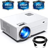 """FunLites Projector,+80% Brightness HD 4900LUX Video Projector with 200"""" Display 60,000 Hrs Led Home Theater Projector, 1080P"""