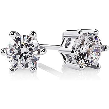 5a24a3039 B.Catcher Women Earrings 925 Sterling Silver Round Cut Cubic Zirconia Stud  Earrings Sets