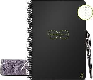 Rocketbook Core Quaderno Smart – Cancellabile, Riutilizzabile – Compatibile con Sistemi Cloud – Taccuino Digitale - Penna Pilot Frixion e Panno Inclusi (Nero, Executive A5, Puntinato)
