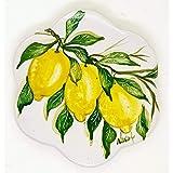 Sottopentola Linea Limoni Realizzato e dipinto a mano Le Ceramiche del Castello Made in Italy Pezzo Unico dimensioni 17 x 17