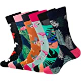 Luxury Design Dress Socks for Men - 6 Pairs Cotton Funky Novelty Patterned Calf Socks