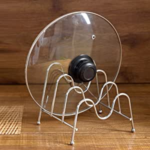 vielseitiger Geschirrständer idealer Topfdeckelhalter Somedays 4 Topf Deckel Rack Halter-Pfannenhalter verchromtes Metall