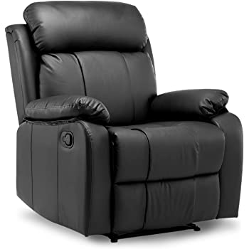 Leisure Zone Leather Recliner Chair Tilt Sofa Push Back Armchair