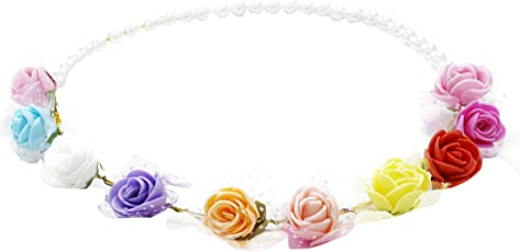 Aarika Girl's Multi Colour Beautifully Handcrafted Floral Tiara with Pearl