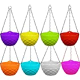 Altino Plastic Hanging with Chain Planter | Hanging Pots for Plants | Multicolor, Color May Vary (Pack of 8)