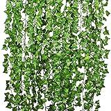 Youthny 12Pack 84FT Künstlicher Efeu Girlande Foliage Green Leaves Fake Aufhängen Vine Pflanze für Hochzeit Party Garten Wand Dekoration Creepers