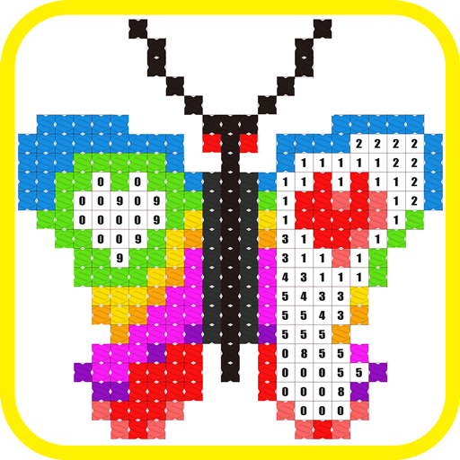 Stitch.io Coloring by Numbers Cross Stitch color game -