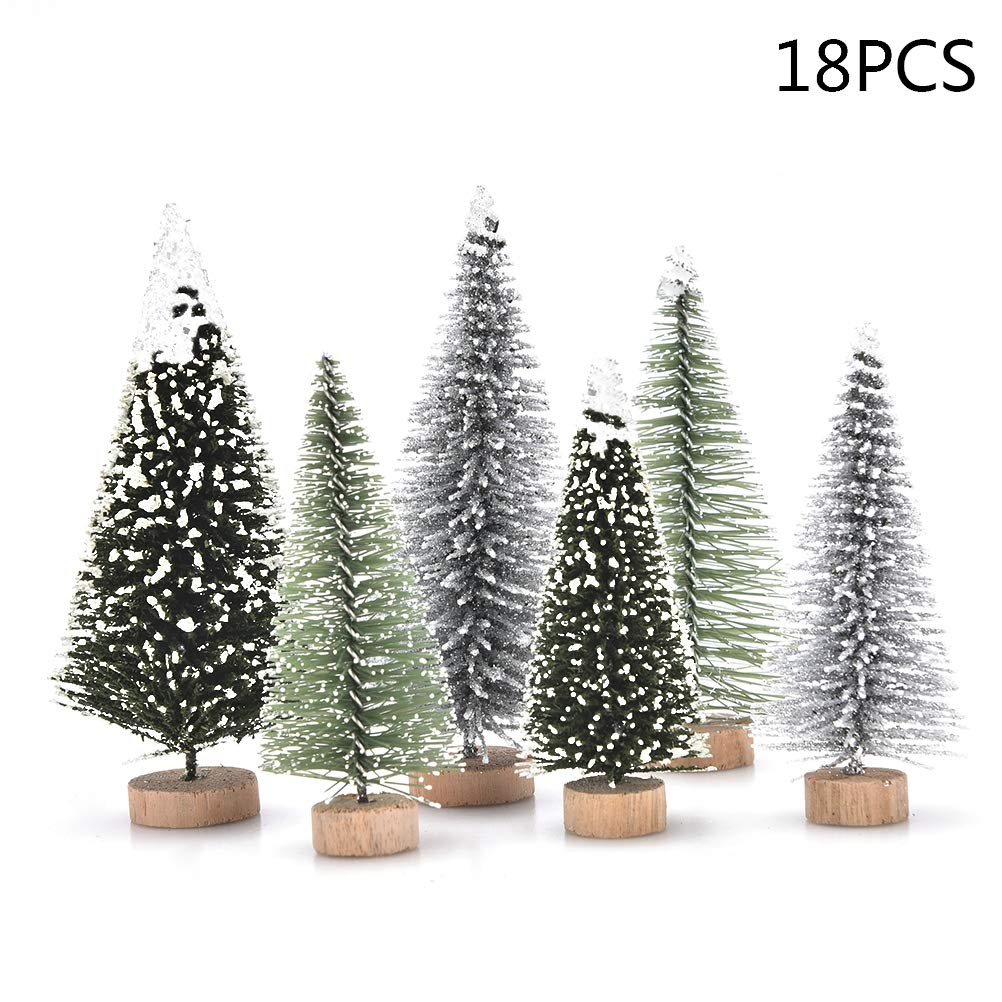 peerless 18 pcs miniature christmas tree small artificial miniatures sisal snow frost trees diorama