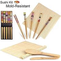 Gosear Completa Bamb ugrave  Sushi Fare Kit 2 sushi Rolling Stuoie Riso Cucchiaio Riso Spandiconcime 5 coppia Bacchette