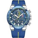 Orologio da uomo cronografo sportivo impermeabile con cinturino in silicone, data, orologio da polso al quarzo luminoso