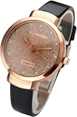 JSDDE Uhren,Elegante Damen Armbanduhr Braunglas Glitzer Dial XS Slim PU Leder-Band Ladies Dress Analog Quarzuhr