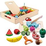 mysunny Frutas y Verduras Juguete para Cortar, Cocina Comida de Juguete, Juguetes de Madera Accesorios Cocina para Niños, Com