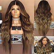 Ladies Wig Brown Curls Gradient Cosplay Costume Dress Natural Synthetic Heat Resistant