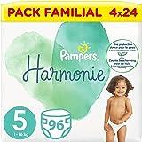 Pampers Couches Harmonie Taille 5 (11-16kg) 0% de compromis, 100% d'absorption, Ingrédients d'Origine Végétale, Hypoallergéni