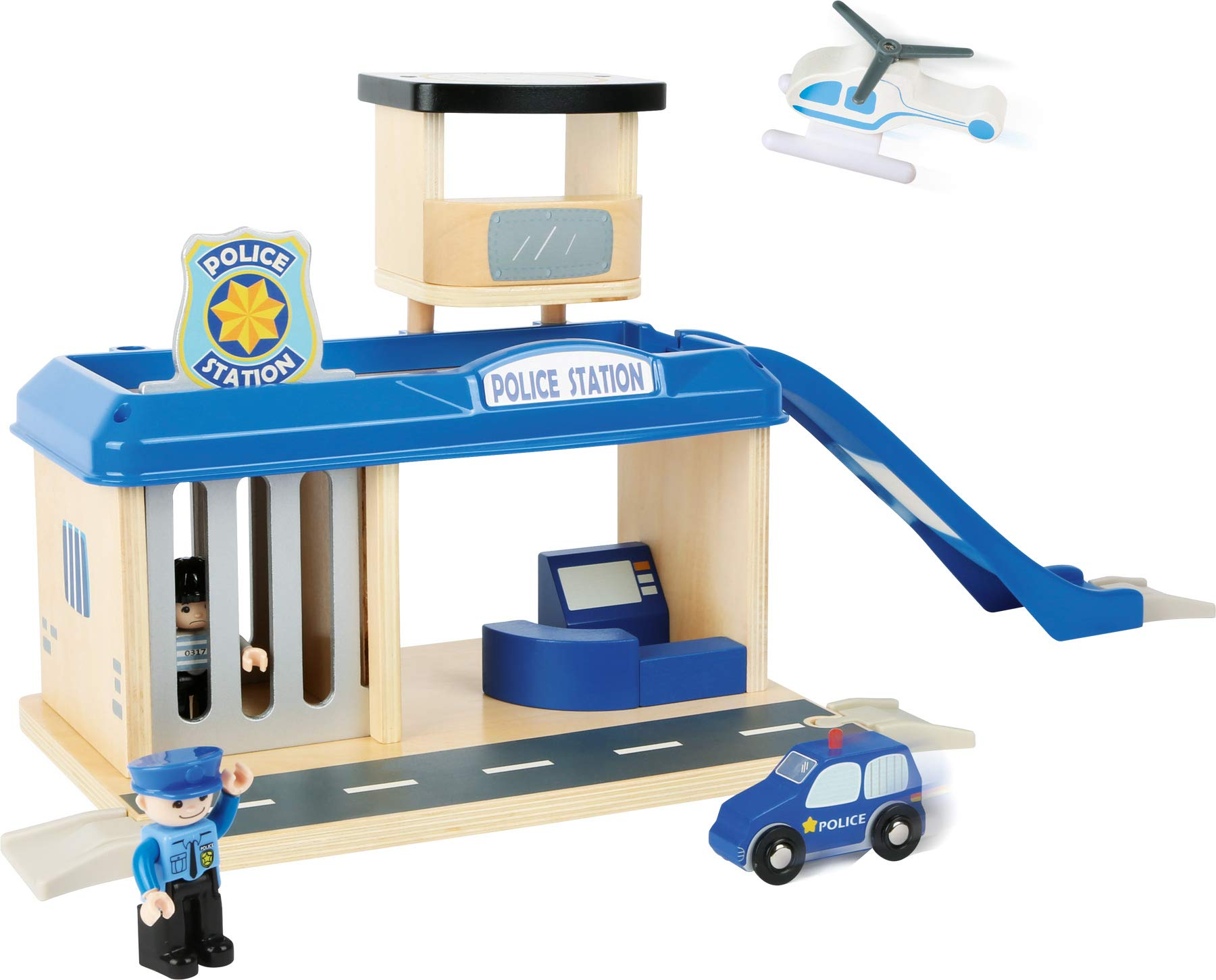 small foot 10797 Police station with accessories, including a policeman, robber, helicopter and car, from 3 years Small Foot World An impressive police station in a strong, vivid police blue Many extras like a policeman, a robber, a car and a helicopter Compatible with all common railway brands 1