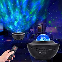 Night Light Projector with Music, Star Night Light Lamp and Ocean Wave Projector with Bluetooth Speaker and Remote Control for Kids Adults Room Party Decoration