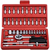 FAB Innovations 46 in 1 Pcs Tool Kit & Screwdriver and Socket Set Multi Purpose Combination Tool Case Precision Socket…
