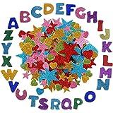 Anyasen Stickers en Mousse 172 pcs Glitter Mousse Autocollants étoiles Coeur Lettres de l'alphabet Stickers Autocollants en m