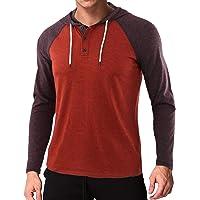 Men's Casual Lightweight Long Sleeve Tops Raglan Henley Hoodie T Shirts