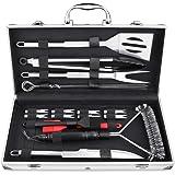 BEEWAY Kit d'outils pour Barbecue avec étui en Aluminium 20 en 1