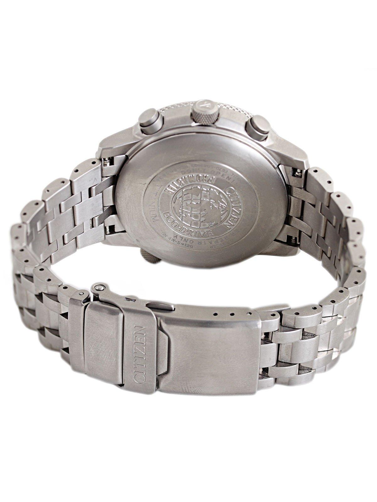 Citizen AS4050-51E - Reloj cronógrafo Ecodrive para hombre, correa de titanio color plateado 4