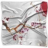Sheep Cherry Blossom Tree Fazzoletto in poliestere Pocket Square Mulipurpose Silk Bandane stampa delicata