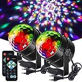 Litake Discobol discolicht, 3 W partyverlichting DJ-podiumverlichting 7 kleuren modi muziekgestuurde afstandsbediening led pa