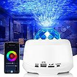 Projecteur LED - Ciel étoilé - Veilleuse pour enfants - Lampe avec télécommande, haut-parleur WiFi et étoile - Effet de vague
