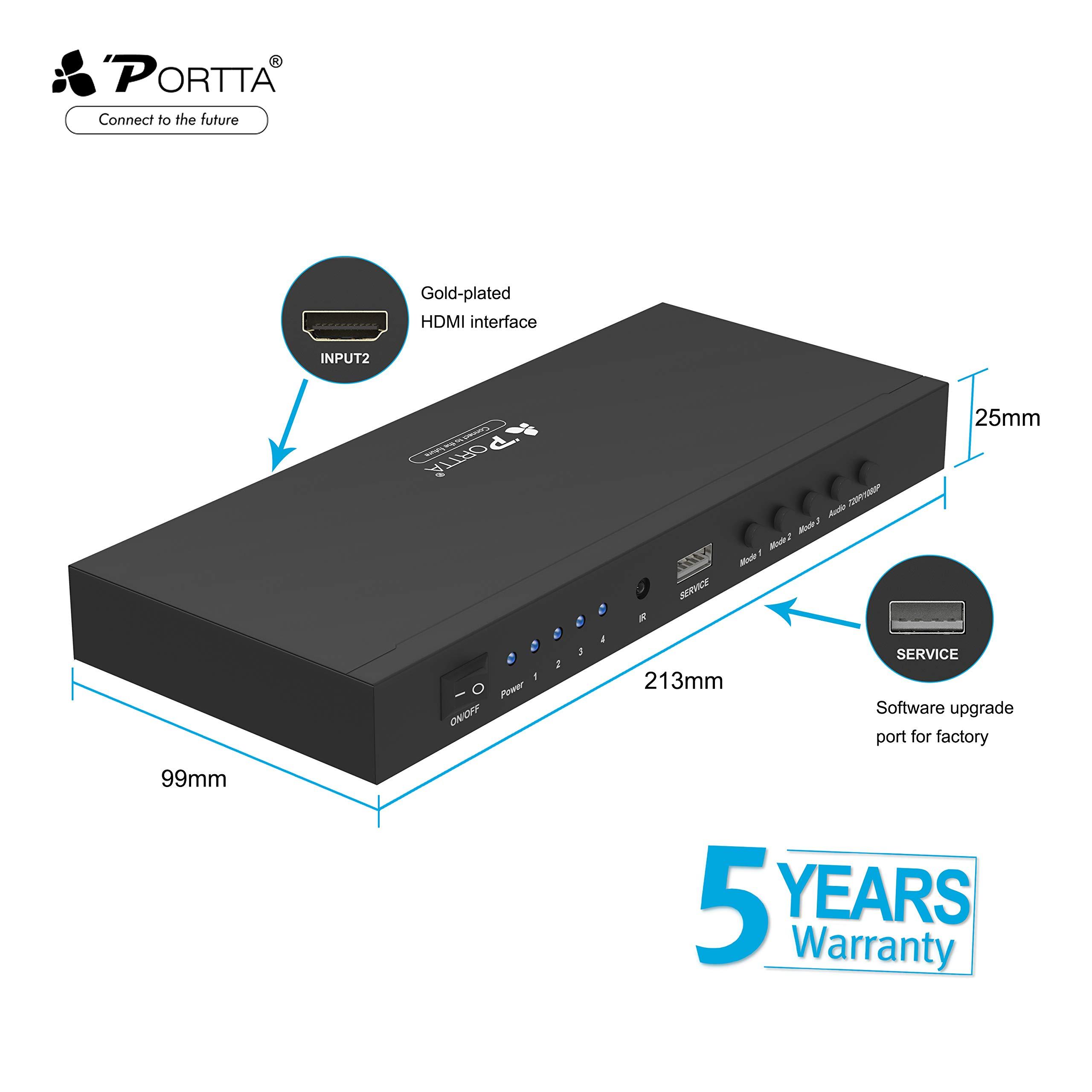 Portta HDMI Switch 4x1 Quad Multi-Viewer con 5 modalità senza cucitura Switch HDMI stereo con telecomando IR Supporto 720P/1080p scaler HDCP 1.3 per Xbox360 PS4 Notebook PC HDTV Elettronica