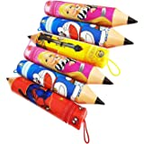 Jiada Pack of 6 Pencil Shape Pouches - Birthday Return Gifts for Kids in Bulk