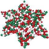 Pompon de Noël,600 pièces boules en peluche moelleuses 3 couleurs assorties taille10-20mm boules de pompon moelleuses pour en