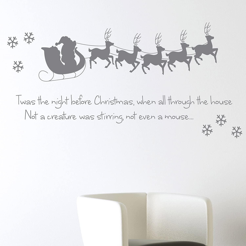 Twas The Night Before Christmas Wall Sticker Xmas Art Decal Decoration  Santa Reindeer Snowflake: Amazon.co.uk: Kitchen U0026 Home