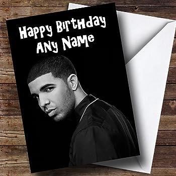 Personalised Black White Drake Birthday Card Amazon Office