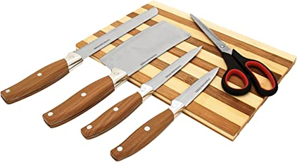 Gannu Chopping Board Brown with Knife Set