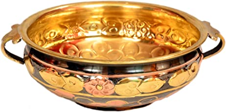 E-Handicrafts Uruli/Urli Bowl Hammered Pure Brass Multicolor with Free urli Stand