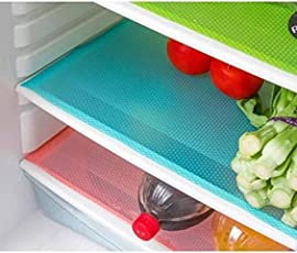 Kuber Industries Plastic 6 Piece Refrigerator Drawer Mat Set - Multicolour