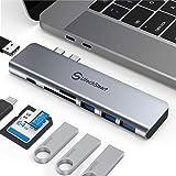 USB C Hub, USB C Adapter Multiport 7 in 2 MacBook Adapter Aluminium Thunderbolt 3 Typ C Hub, 3 USB 3.0&USB 2.0 Anschlüsse, TF