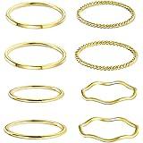 YADOCA 8 Pezzi Acciaio Inossidabile Anelli Impilabili per Donne Ragazze 1MM Sottile Knuckle Ring Stacking Midi Ring Oro Rosa