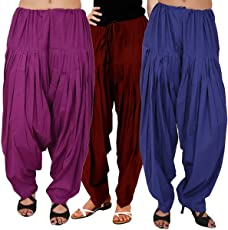 I Shop Women's Cotton Traditional Patiala Salwar (Purple_Free Size)