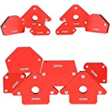 Homdum 6pc Multi Angle magnetic welding holder clamps set with 2 pc x 3 inch arrow type, 2pc x triangle and 2pc x mini, stro
