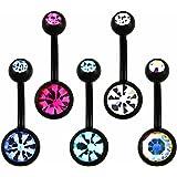 Set di 5 piercing neri, con diversi modelli colorati