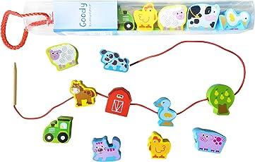 Goodys lustiger Bauernhof - pädagogisches Kinderspielzeug schult die Motorik - Bauklötze in Form von Bauernhoftieren zum Einfädeln, Stecken und Schnüren - Ideal als Geschenk - Holzspielzeug ab 2 Jahre