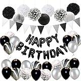 Décorations de Fête d'Anniversaire Noir et Argent pour Adultes avec Kit des Ballons, Décorations en Papier de Soie et Bannièr