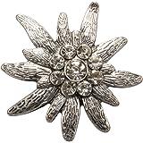Alpenflüstern API080 - Spilla a forma di stella alpina, grande, colore: argento anticato