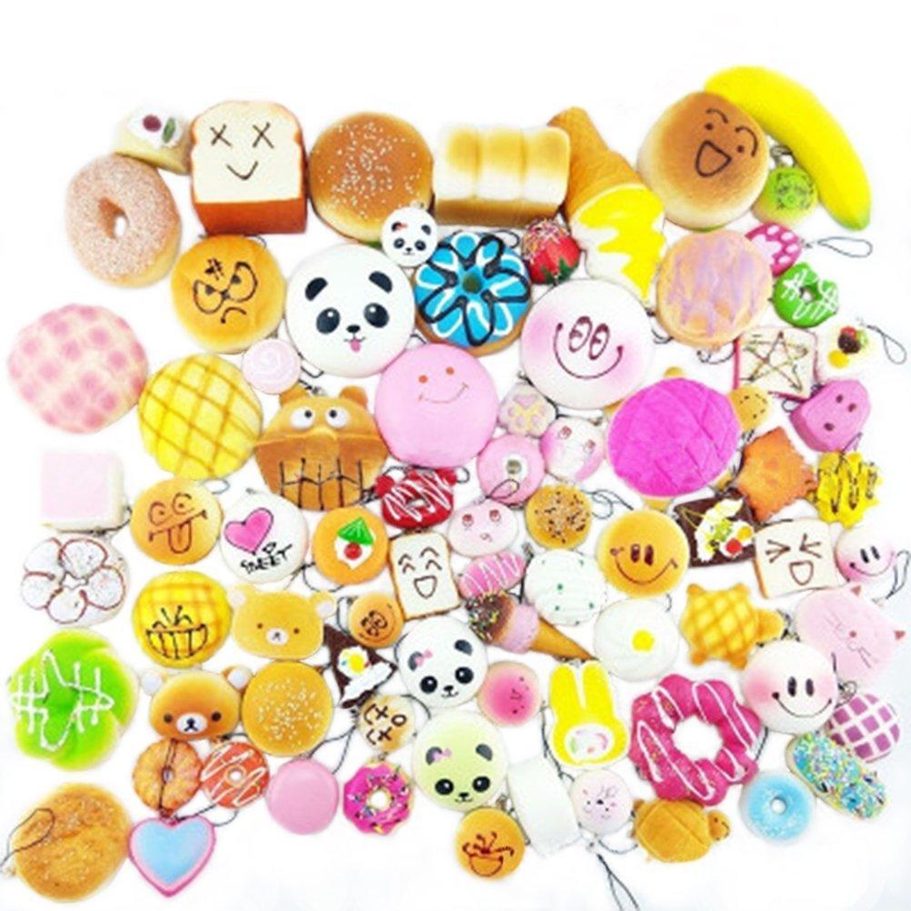 30pcs Random Kawaii Mini Soft Bread Donuts Food Phone Straps Squishy