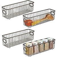 mDesign panier de rangement en métal (lot de 4) – boîte en métal flexible pour la cuisine, le garde-manger, etc…