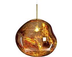 Lampe à suspension Lustres modernes Melt Lampes à suspension Lumières Verre Lave Irrégulier Cuivre Miroir Salon Lampes Suspen
