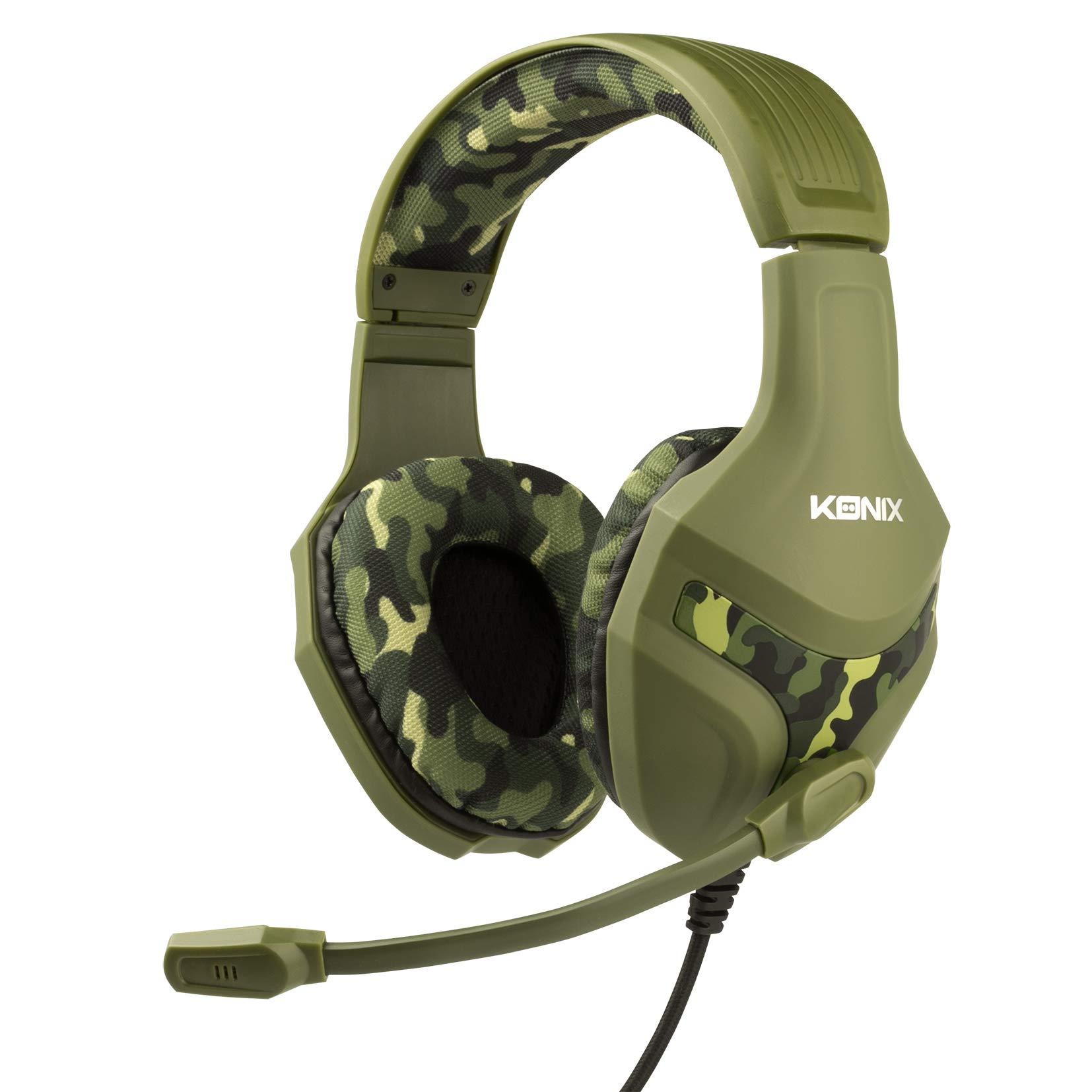 Konix PS-400 Camo – Casque Gaming PS4 Camouflage Compatible Xbox One, PC, Tablette, Smartphone – Haute Qualité Audio – Micro Casque Gamer avec Microphone